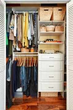 Small closet organization with dresser.