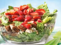 Summer Layered Chicken Salad @ Betty Crocker: strawberries, romaine, grilled chicken, blue cheese, pecans, Dijon mustard vinaigrette