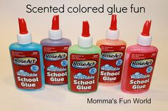 Momma's Fun World: Make your own colored glue with kool-aid - ah, why didn't I think of that! So much more fun than food coloring or paint! A must try!