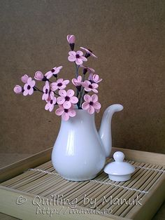 Quilled Cherry Blossom Branch in a Tea Pot