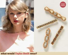 Taylor Swift's hair pins. Outfit Details: http://wwtaylorw.com/3140