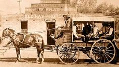 Horse and Wagon Rapid Transit - Horse and wagon, advertising Rapid Transit to Salina, Gold Hill and Ward. Behind the wagon, is a view of the Peter F. Little corral, livery, and feed stables at 1505 Pearl Street. This is the NE corner of 15th & Pearl Street. (1895) REPRODUCTIONS