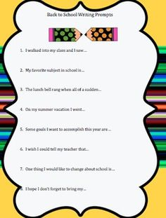 back to school writing prompts!