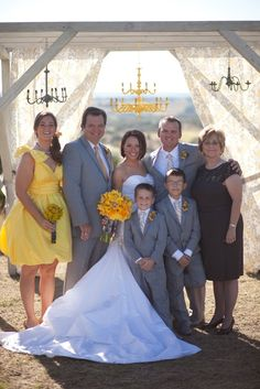 yellow and grey wedd