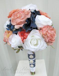Beach+Coral+Navy  ~Wedding bouquet coral navy white rose by BrideinBloomWeddings, $120.00 @Mandy Bryant Dewey Seasons Bridal