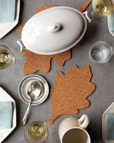 Corkboard Leaf Trivets--In less time than it takes to make gravy, you can create a simple, inexpensive accent for your Thanksgiving table.