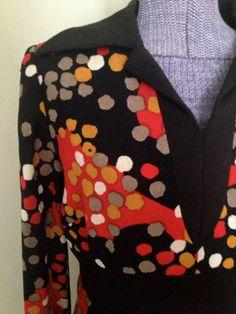 Vintage MOD 1960s Designer Abstract Motif Print Shift Dress - Large - Rare Esther Pomerantz on Etsy, $45.00