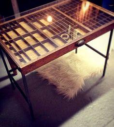 Vintage Printer's Tray Table