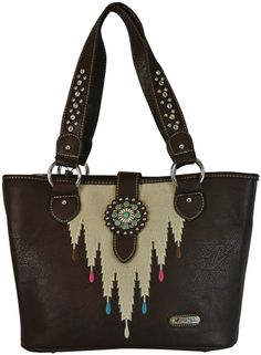 """Montana West Concho Collection - The Concealed Pocket on the back of the bag has vertical zipper access and DOES have a sewn in barrel rest. Concealed gun pocket measures approximately 8.5""""L at the barrel, 6.5""""L at the butt and 6.25""""H."""