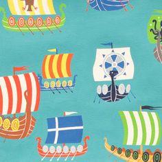 Alexander Henry House Designer - The Vikings - The Viking Fleet in Aquamarine