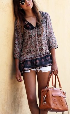 summer outfits womens fashion clothes style apparel clothing closet ideas. Indian cotton. Love it! brown handbag