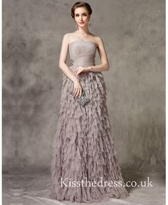 Grey Tulle Strapless