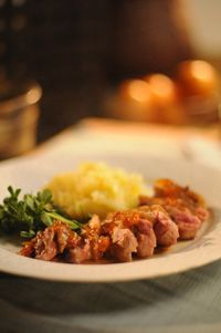 sauteed duck breasts with apricot-Szechuan peppercorn sauce (Sara Moulton recipe)