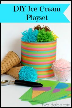 dramatic play, play sets, diy tutorial, diy ice, coffee cans, ice cream, cream play, kids playing, pretend play