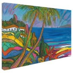 Bring gallery-worthy appeal to your walls with this vibrant canvas giclee print, showcasing a tropical island scene.   Product: Canvas giclee printConstruction Material: Canvas and woodFeatures:  Tropical island sceneGallery-wrappedReproduction of art by Manor Shadian Made in the USA