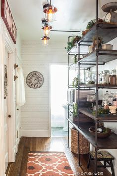 kitchens, kitchen shelves, pipe shelv, diy tutorial, light fixtures, pantries, hallway, open shelving, getting organized