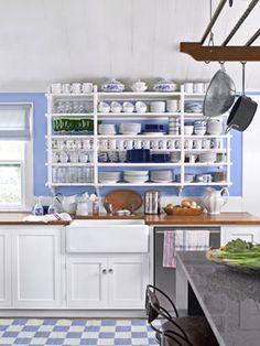 interior design, open shelves, kitchen shelv, farmhouse sinks, open kitchens, kitchen designs, blues, open shelving, white kitchens