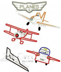 """Planes"" Set Applique Embroidery Design"
