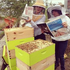 Me and my beekeeping partner have to #readeverywhere, even while checking our hives!