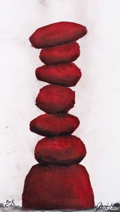 Red Column - Art collection by David Nash