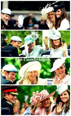 Camilla, Kate and Harry, Trooping the Colours through the years Bottom pic 6-2014