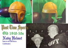 Old Navy leather football helmet used in the 1940s and 1950s era