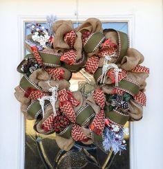 New Vintage Burlap Christmas Wreath with Reindeer