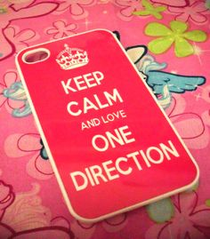 Hot Pink Keep Calm and Love One Direction iPhone 4G/4S Case 1D. Ahahahah yes.