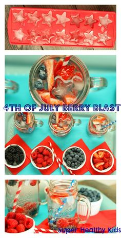 Berry infused water for natural sweetness instead of sugary beverages this 4th of July!  #healthyfourth by Super Healthy Kids