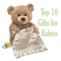 Top 10 Gifts for Babies | A great list of gift ideas for Christmas, showers or baby's birth. So many cute & well thought out items! Includes easy links to purchase online.