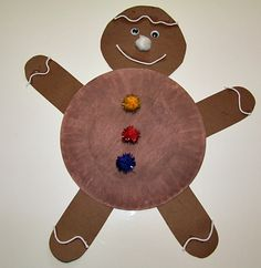 Paper Plate Gingerbread Man Craft from Kiboomu