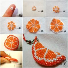 DIY Beaded Orange Slice Key Chain