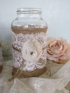 Vintage Lace on Burlap  Wedding Mason Jars by Fannypippin on Etsy, $32.50