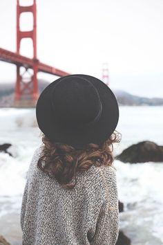 hats, sweater, hat hair, curls, gates, bridges, place, san francisco, curly hair