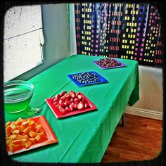 """Ninja turtle party food-Fruit in the colors of the four ninjas - green jello for """"ooze"""""""