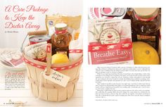 "Love this ""Get Well"" Gift Basket idea from Somerset Life (Spring 2013 issue).... Cute Apple Basket decorated with a bit of Washi Tape & a Handwritten Gift Tag filled with Teas, a Lemon, Honey, a Can of Soup, and Tissues (I might also add a small pack of lozenges & a cuddly bear)"