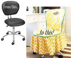 Chair Slip Cover - http://www.positivelysplendid.com/2013/04/diy-office-chair-slipcover.html