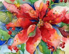 Poinsettia.jpg poinsettia, watercolor, galleries, artists, red blossom, the artist, paintings, flowers, blossoms
