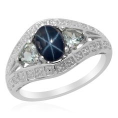 Liquidation Channel: Thai Blue Star Sapphire Diffused and Espirito Santo Aquamarine Ring in Platinum Overlay Sterling Silver (Nickel Free)