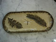 Dragonfly and fern pottery pine needle basket bases on Etsy, $16.00