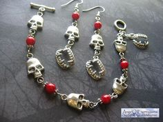 Vamp Tramp in Red Earrings and Bracelet Set OOAK by AngelQ on Etsy,