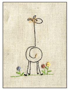giraffe embroidery.