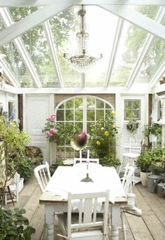 Conservatory with white wood