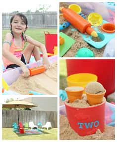 "{Portable Backyard Beach Box} Click the image to find the toys displayed in this blog post. Click here to see ""the best toys for a 6-year-old"" on the Melissa & Doug website: http://www.melissaanddoug.com/best-toys-for-6-year-olds"