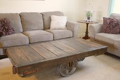 *DIY Industrial Cart Coffee Table
