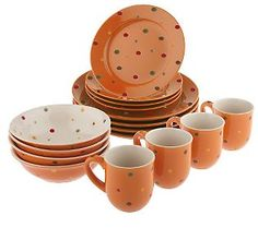 Temp-tations Dinnerware Orange/Dots qvc.com
