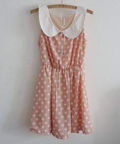Cute Peach Polka Dot Collar Dress with Bow Necklace.