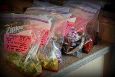 Crockpot recipes in a bag.