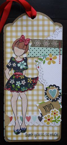 A new thank you tag featuring Prima's Betty doll stamp and Homespun from Simple Stories!