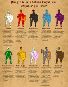 You get to be a badass knight... Pick one!